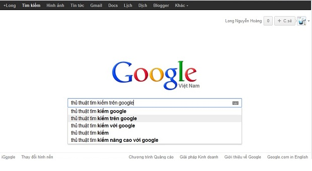 tìm kiếm trên google