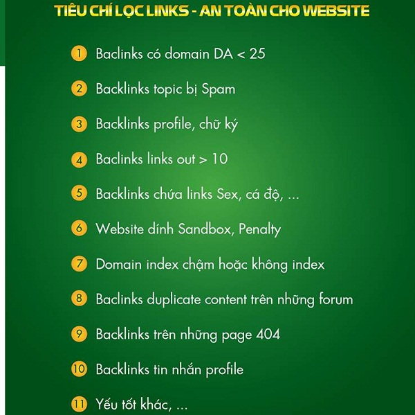 TIÊU CHÍ LỌC LINKS - AN TOÀN CHO WEBSITE