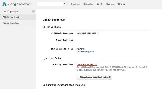 cách cài đặt thanh toán google adwords