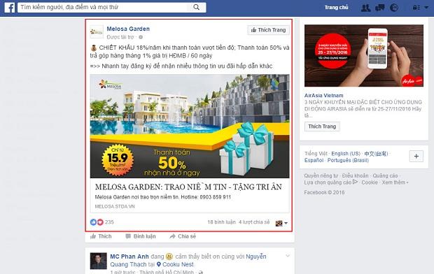 dịch vụ bất động sản facebook